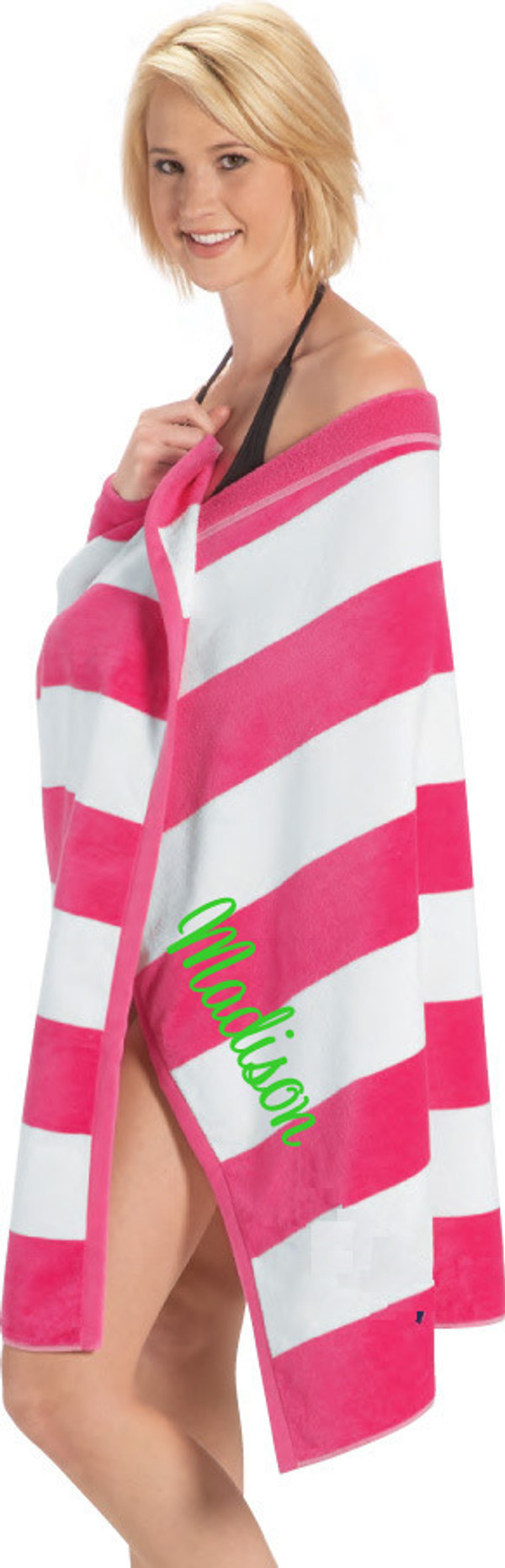 Monogrammed Cabana Stripe Terry Velour Towel Hot Pink Towel with Cursive Lime Green Font