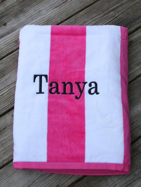 Monogrammed Cabana Stripe Terry Velour Towel   www.tinytulip.com Hot Pink Towel with Romana Black Font