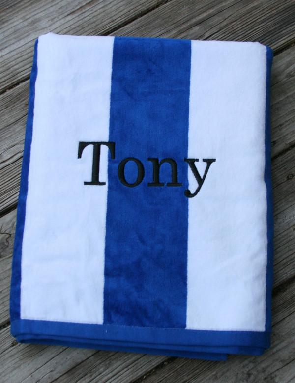 Monogrammed Cabana Stripe Terry Velour Towel   www.tinytulip.com Royal Blue Towel with Romana Black Font