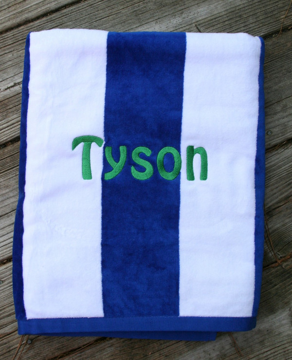Monogrammed Cabana Stripe Terry Velour Towel   www.tinytulip.com Royal Blue Towel with Hobo Kelly Green Font
