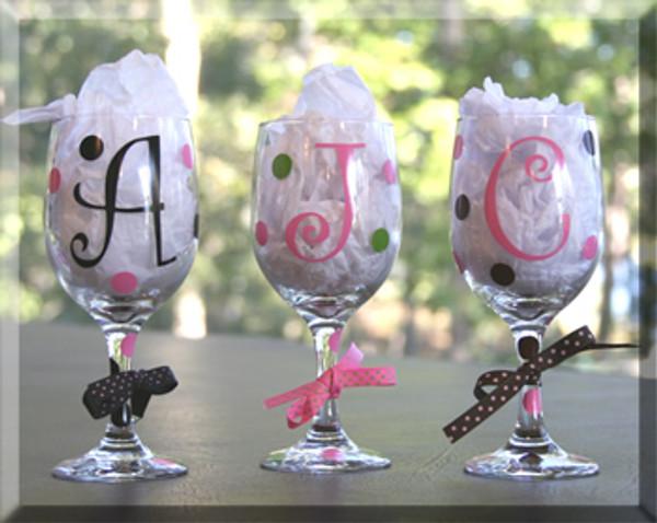 Personalized Monogrammed Polka Dot Wine Glass