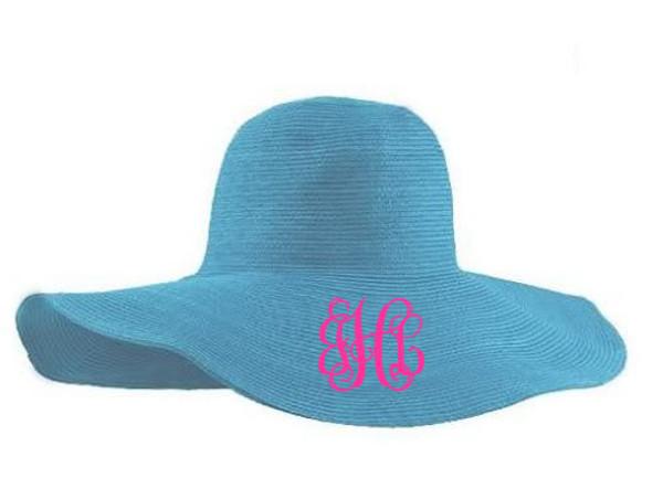 Monogrammed Floppy Wide Sun Hat ~ Summer ~ Beach ~ Derby Turquoise Hat with Hot Pink Interlocking Font