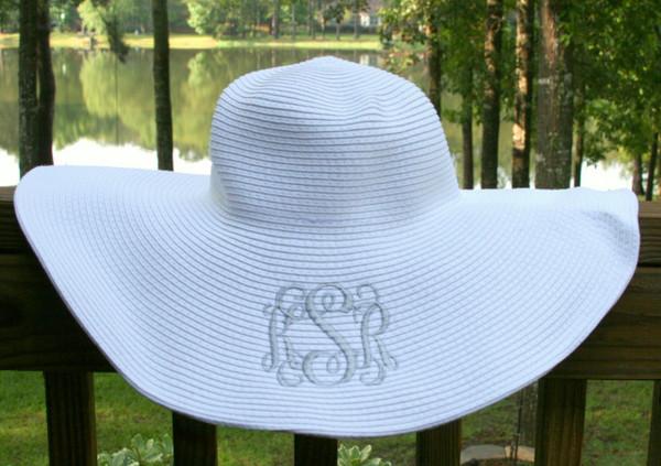 Monogrammed Floppy Wide Sun Hat ~ Summer ~ Beach ~ Derby www.tinytulip.com White Hat with Silver Interlocking Monogram