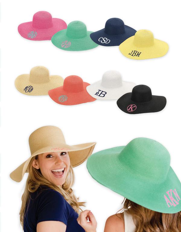 Monogrammed Floppy Wide Sun Hat ~ Summer ~ Beach ~ Derby www.tinytulip.com