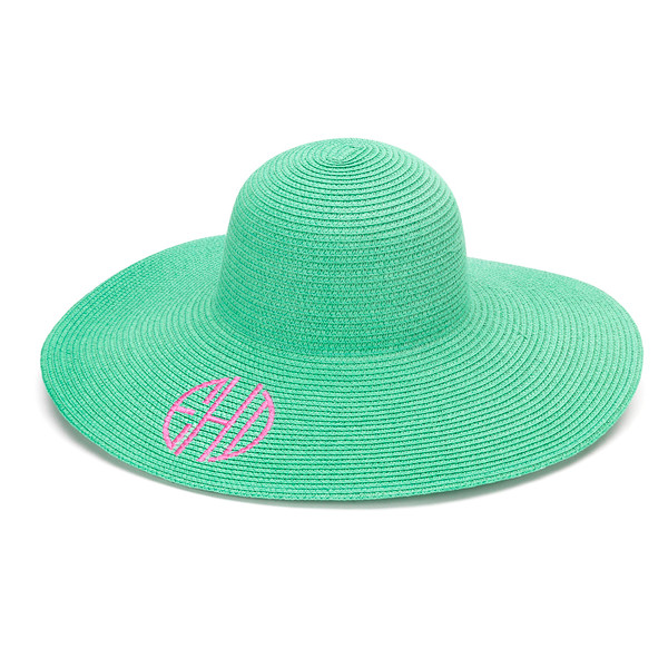 Monogrammed Floppy Wide Sun Hat ~ Summer ~ Beach ~ Derby www.tinytulip.com Mint Hat with Preppy Pink Circle Monogram