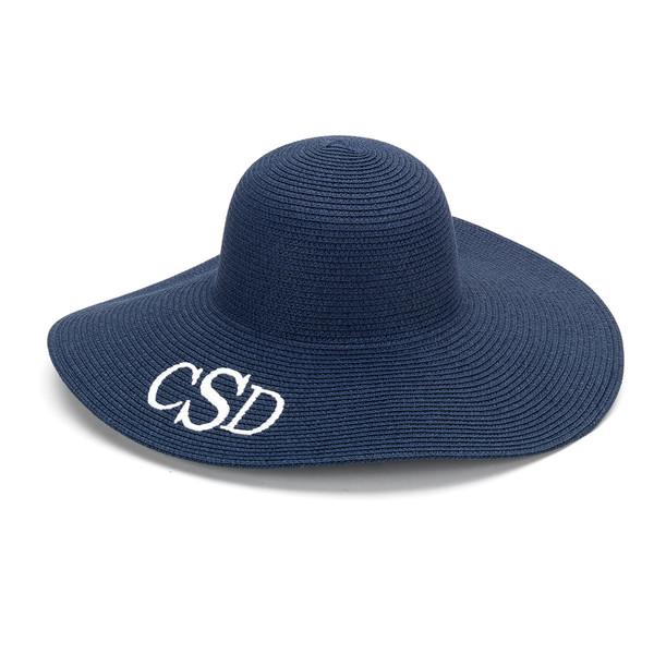 Monogrammed Floppy Wide Sun Hat ~ Summer ~ Beach ~ Derby www.tinytulip.com Navy Hat with White Classic Block Monogram