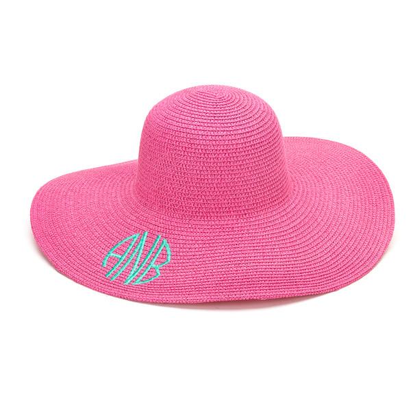 Monogrammed Floppy Wide Sun Hat ~ Summer ~ Beach ~ Derby www.tinytulip.com Hot Pink Hat with Mint Circle Monogram