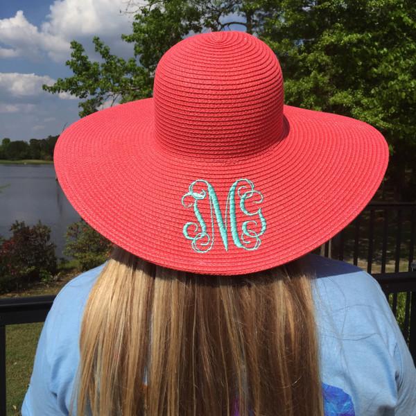 Monogrammed Floppy Wide Sun Hat ~ Summer ~ Beach ~ Derby www.tinytulip.com Coral Hat with Mint Interlocking