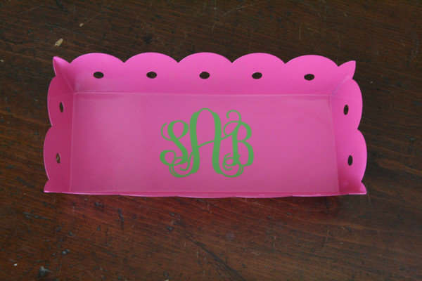 Scalloped Rectangle Tray Monogrammed - www.tinytulip.com Hot Pink with Lime Green Interlocking Font