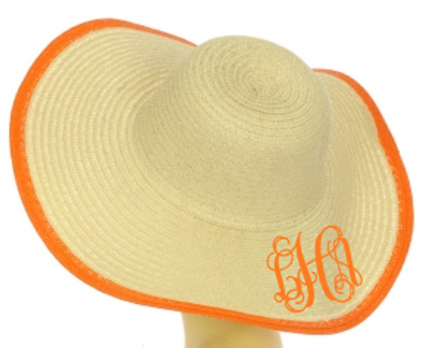 Floppy Color Rim Straw Hat ~ Sun Hat Monogrammed Interlocking Font