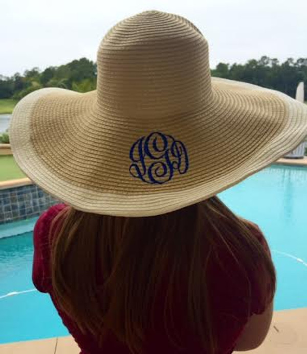 Floppy Color Rim Straw Hat ~ Sun Hat Monogrammed Cream