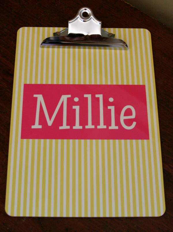 Yellow Seersucker Stripe with Hot Pink Solid Rectangle Blake Font