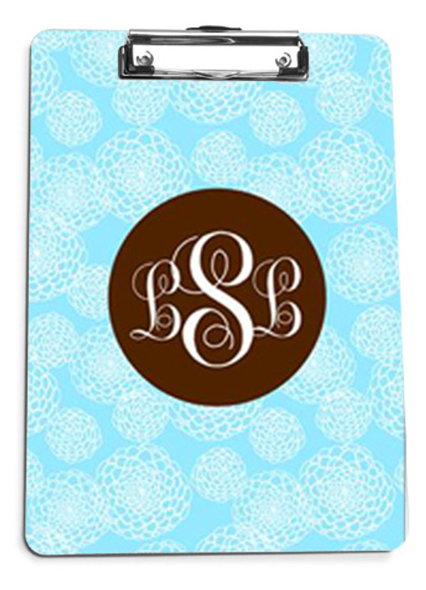 Baby Blue Zinnia Pattern with Solid Circle Brown Emma Font