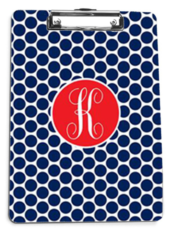 Navy Polka Dot with Solid Circle Red Emma Script Font