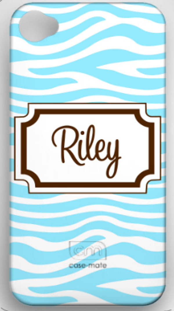 Monogrammed Phone Cover iphone blackberry samsung www.tinytulip.com Baby Blue Zebra with Classic Frame Cursive Brown Font