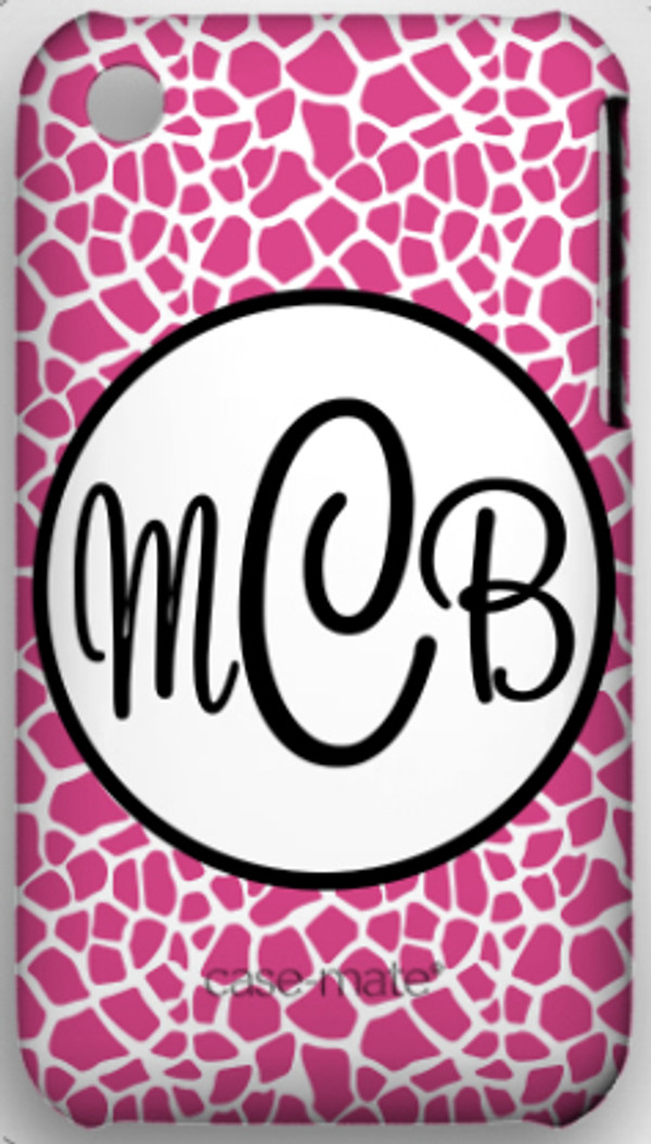 Monogrammed Phone Cover iphone blackberry samsung www.tinytulip.com Hot Pink Giraffe with Hollow Circle Black Cursive Font