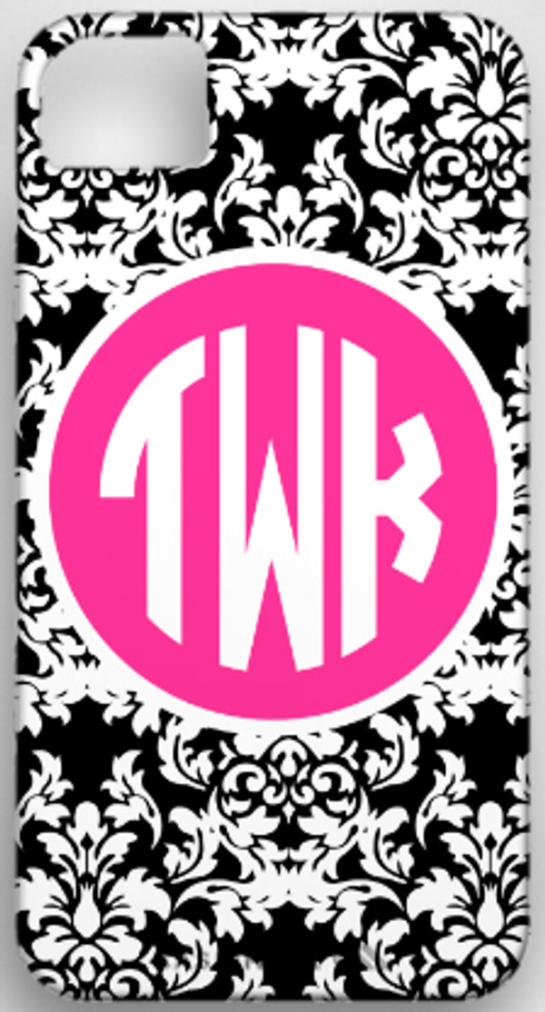 Monogrammed Phone Cover iphone blackberry samsung www.tinytulip.com Black Damask with Hot Pink Solid Circle, Circle Font
