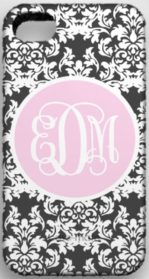 Monogrammed Phone Cover iphone blackberry samsung www.tinytulip.com Charcoal Gray Damask Pattern with Solid Circle Light Pink Interlocking Font