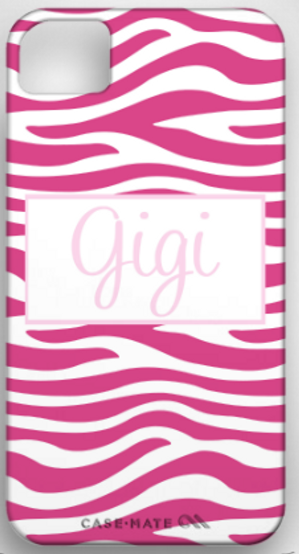 Monogrammed Phone Cover iphone blackberry samsung www.tinytulip.com Hot Pink Zebra Pattern with Hollow Rectangle Light Pink Cursive Font