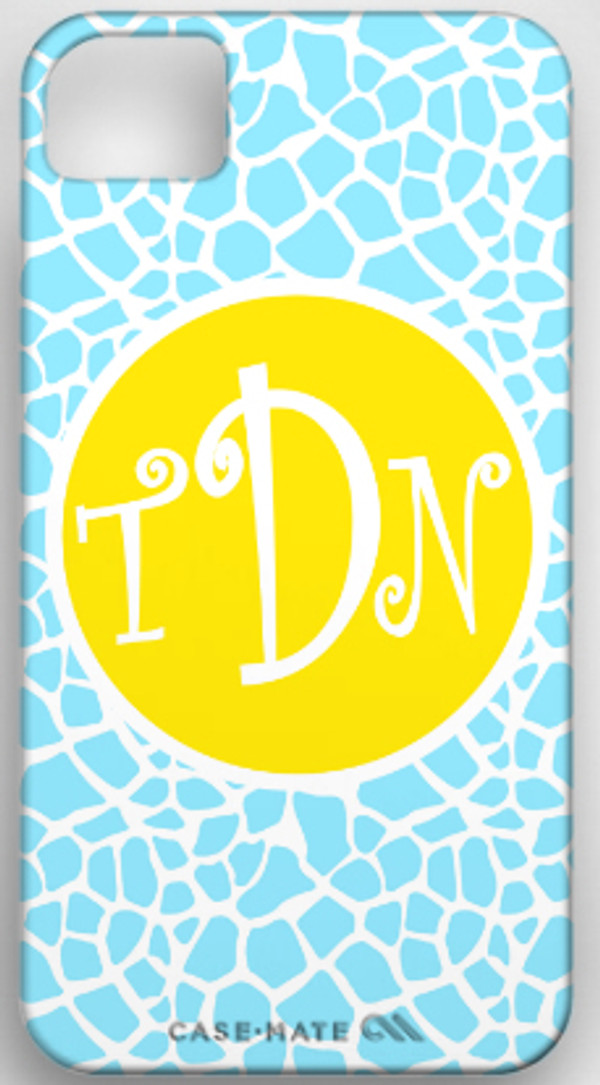 Monogrammed Phone Cover iphone blackberry samsung www.tinytulip.com Baby Blue Giraffe Pattern with Solid Circle Yellow Curly Font