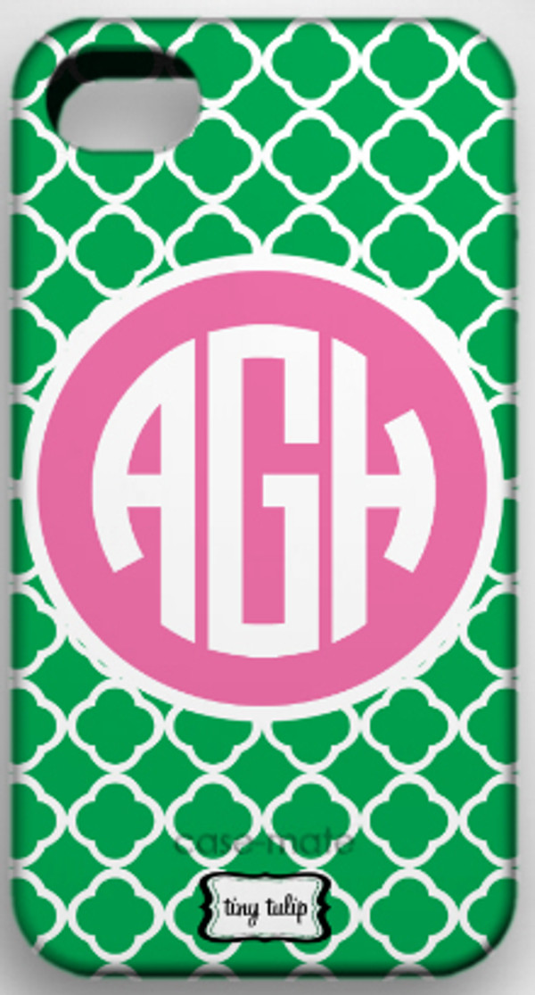 Monogrammed Phone Cover iphone blackberry samsung www.tinytulip.com Kelly Green Tiles Pattern with Lilly Pink Solid Circle Circle Font