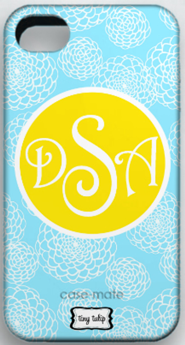 Monogrammed Phone Cover iphone blackberry samsung www.tinytulip.com Baby Blue Zinnia with Yellow Solid Circle Victorian Font