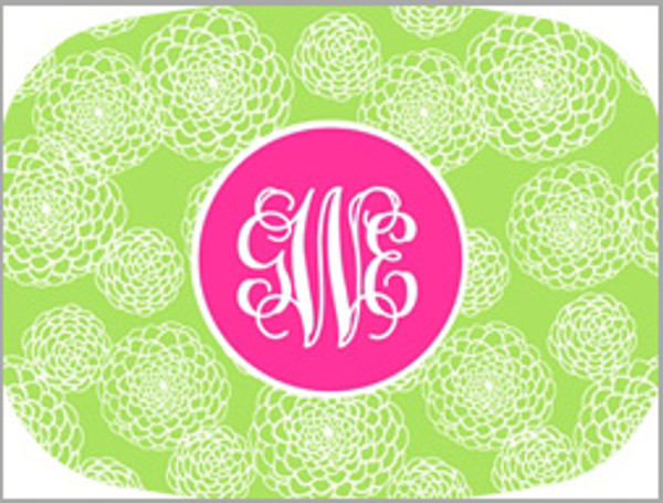 Personalized Melamine Platter  ~ Monogrammed - www.tinytulip.com Lime Green Zinnia Pattern with Solid Circle Hot Pink Interlocking Font
