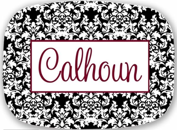 Personalized Melamine Platter  ~ Monogrammed - www.tinytulip.com Black Damask Pattern with Hollow Rectangle Garnet Cursive Font