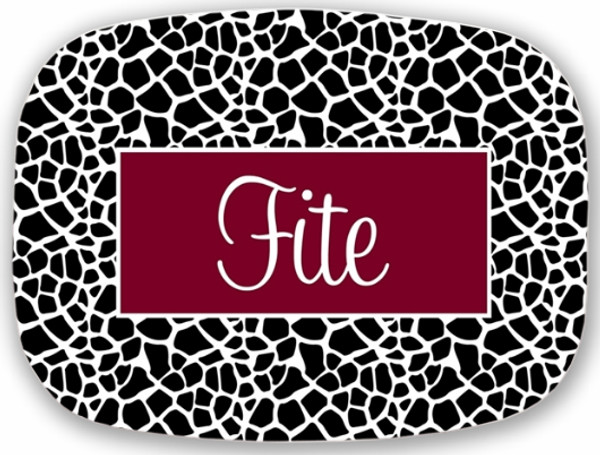 Personalized Melamine Platter  ~ Monogrammed - www.tinytulip.com Black Giraffe Pattern with Solid Rectangle Garnet Cursive Font