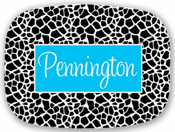 Personalized Melamine Platter  ~ Monogrammed - www.tinytulip.com Black Giraffe Pattern with Solid Rectangle Turquoise Cursive Font