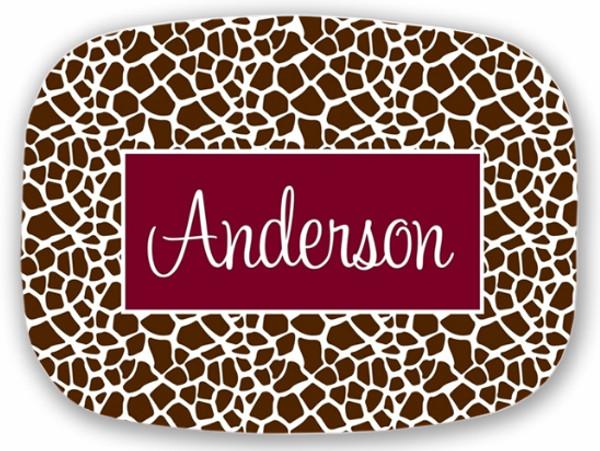 Personalized Melamine Platter  ~ Monogrammed - www.tinytulip.com Brown Giraffe Pattern with Solid Rectangle Garnet Cursive Font