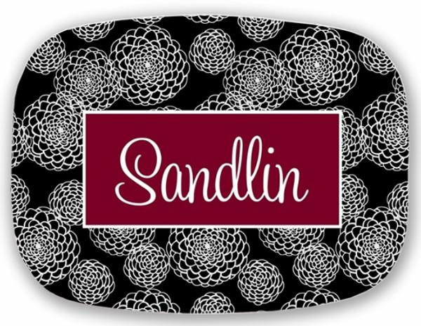Personalized Melamine Platter  ~ Monogrammed - www.tinytulip.com Black Zinnia Pattern with Solid Rectangle Garnet Cursive Font
