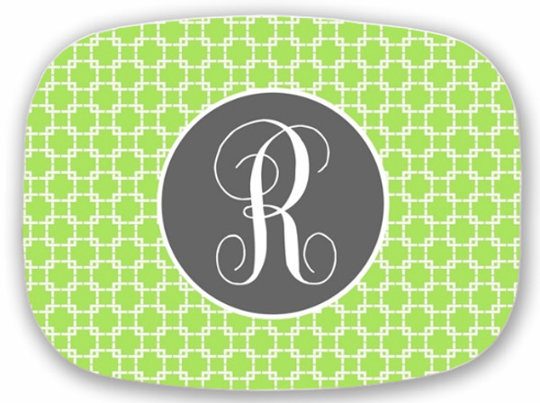 Personalized Melamine Platter  ~ Monogrammed - www.tinytulip.com Lime Green Squares with Solid Circle Gray Emma Script Font