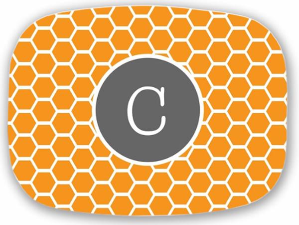 Personalized Melamine Platter  ~ Monogrammed - www.tinytulip.com Orange Honeycomb Pattern with Solid Circle Gray Typewritert Font