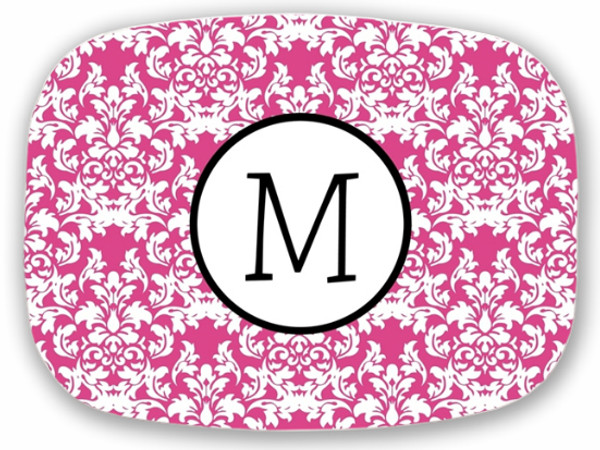 Personalized Melamine Platter  ~ Monogrammed - www.tinytulip.com Hot Pink Damask with Hollow Circle Black Blake Font