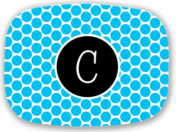 Personalized Melamine Platter  ~ Monogrammed - www.tinytulip.com Turquoise Polka Dot Pattern with Solid Circle Black Blake Font