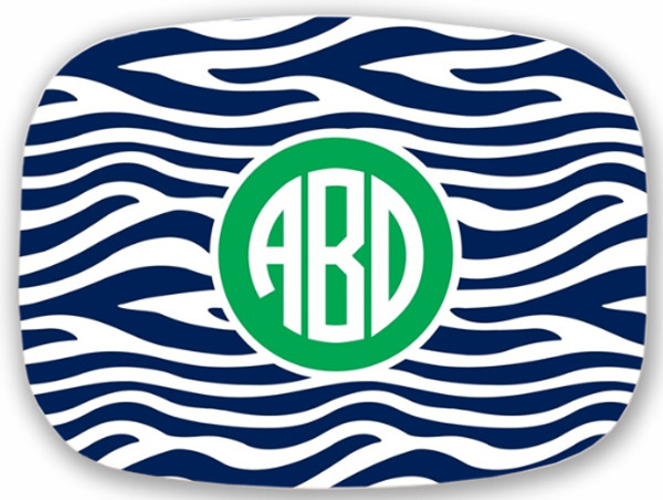 Personalized Melamine Platter  ~ Monogrammed - www.tinytulip.com Navy Zebra Pattern with Solid Circle Kelly Green Circle Font