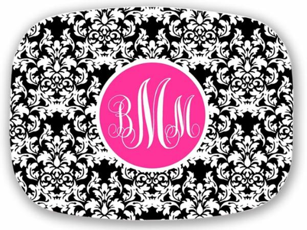 Personalized Melamine Platter  ~ Monogrammed - www.tinytulip.com Black Damask Pattern with Solid Circle Hot Pink Emma Script Font