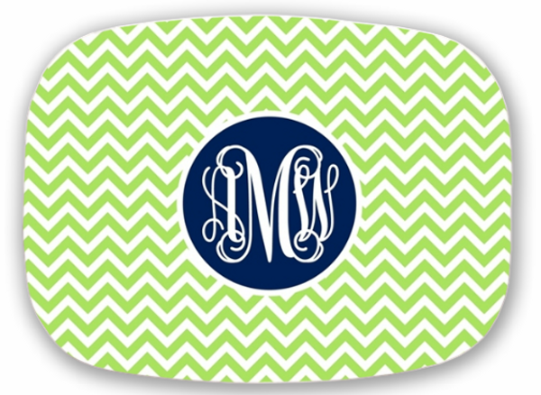 Personalized Melamine Platter  ~ Monogrammed - www.tinytulip.com Lime Green Chevron with Solid Circle Navy Interlocking Font