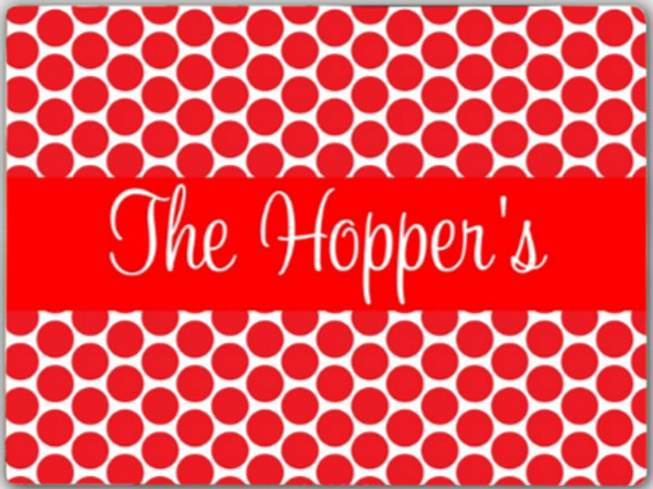Personalized Cutting Board ~ Monogrammed - www.tinytulip.com Red Polka Dot Pattern with Red Solid Ribbon Cursive Font