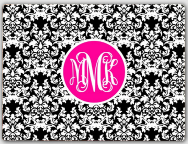 Personalized Cutting Board ~ Monogrammed - www.tinytulip.com Black Damask Pattern with Solid Circle Hot Pink Interlocking Font