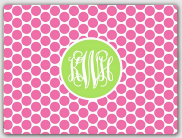 Personalized Cutting Board ~ Monogrammed - www.tinytulip.com Lilly Pink Polka Dot Pattern with Solid Circle Lime Green Interlocking Font