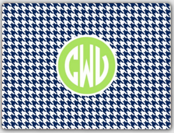 Personalized Cutting Board ~ Monogrammed - www.tinytulip.com Navy Houndstooth Pattern with Solid Circle Lime Green Circle Font