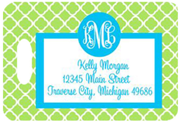 Personalized Luggage Bag Tag Monogrammed  www.tinytulip.com Lime Green Tiles Pattern with Turquoise Solid Circle Cursive Font