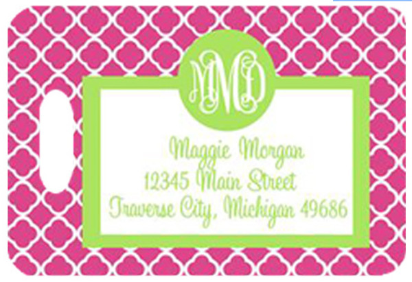 Personalized Luggage Bag Tag Monogrammed  www.tinytulip.com Lilly Pink Tiles Pattern with Lime Green Solid Circle Cursive Font