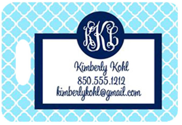 Personalized Luggage Bag Tag Monogrammed  www.tinytulip.com Baby Blue Tiles Pattern with Navy Solid Circle Cursive Font