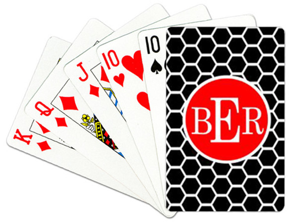 Personalized Playing Cards~Monogrammed - www.tinytulip.com Black Honeycomb Pattern with Solid Circle Red Romana Font