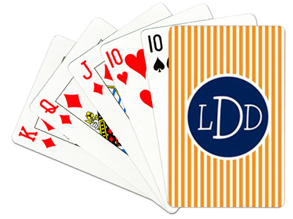 Personalized Playing Cards~Monogrammed - www.tinytulip.com Orange Seersucker with Solid Circle Navy Blake Font