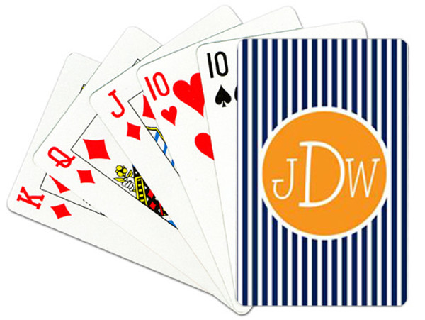Personalized Playing Cards~Monogrammed - www.tinytulip.com Navy Seersucker with Solid Circle Orange Blake Font