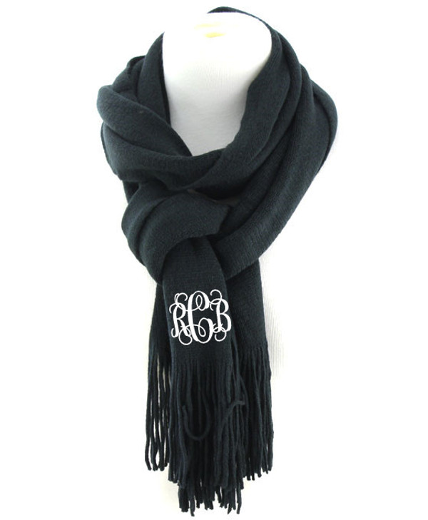 Monogrammed Cashmere Feel Winter Scarf  www.tinytulip.com Black with White Interlocking Font
